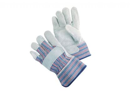 Picture of Double Leather Palm Glove - Blue Fabric Red Stripes