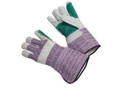 Picture of Green Double Leather Palm Gloves - 4 1/2 Inch Gauntlet Cuff