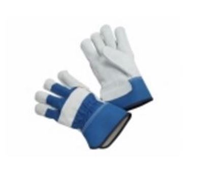 Picture of Inside Double Leather Palm Gloves - Blue Fabric Cuff and Back