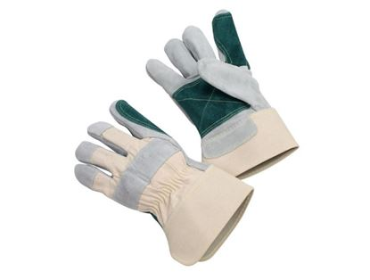 Picture of Side Leather Double Palm Gloves - 2 1/2 Inch Rubberized Safety Cuff